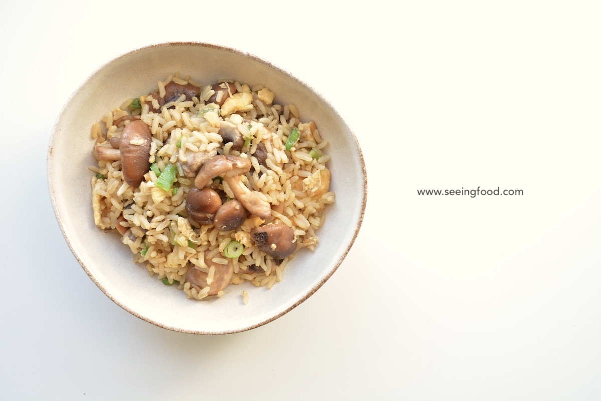 Fried brown rice with fresh shiitake and mushrooms | Quick and easy meals