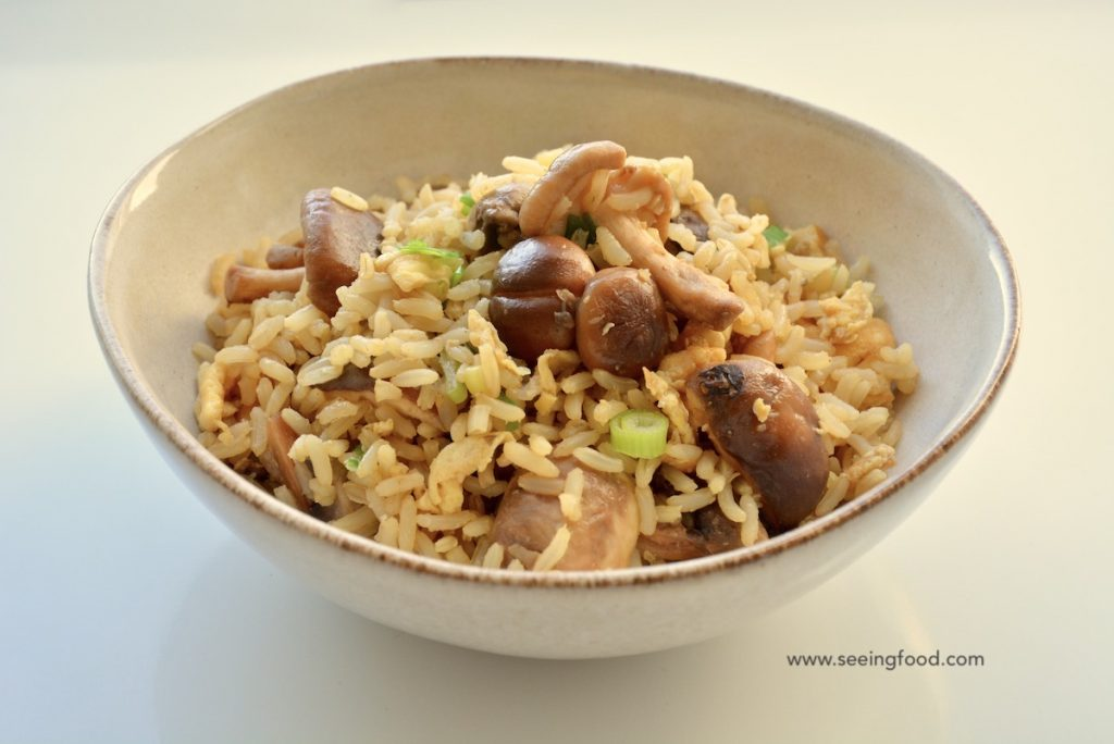 Fried rice with fresh shiitake